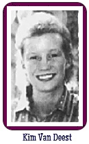 Portrait of Kim Van Deest, Grundy Center High School (Iowa) girls basketball player. From The Courier, Waterloo, Iowa, January 18, 1989