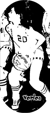 Black and white image of Iowa girls basketball player, #20, Verlea Douglas, #20, for Sentral High School, looking to do something with basketball in action shot from The Algona Upper Des Moines newspaper, January 15, 1976.