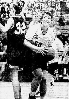 Action photo of Wendi Schoff, St. Johnsville Saint basketball player. From The Daily Gazette, Schenectady, New York, April 5, 1994.