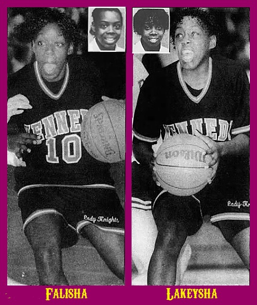 Images of twin sisters and girls basketball players in New Jersey, who played for Paramus Catholic High, c.1991. Actions shots from The Record, Hackensack, N.J., Jan. 8, 2000 with portrait shots from same newspaper from March 26, 1989. Falisha Wright, number 10, is on the left, dribbling the ball, Lakeysha Wright to the right looking to pass. Played for John F. Kennedy Knights in Paterson, New Jersey.
