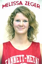 Melissa Zeger, Fannett-Metal High School (Pennsylvania) basketball player, posing, in uniform. Shoulder shot.