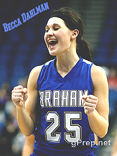 Photo of Becca Dahlman, Braham High Bombers (Minnesota) basketball player. Photo courtesy of and by Gary Knox, by permission.