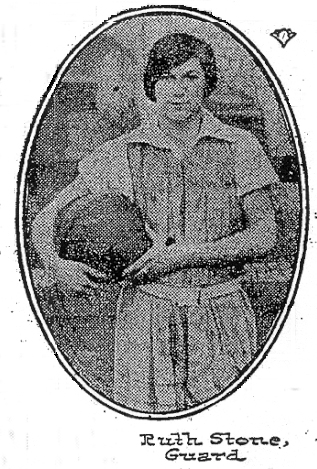 12/13/1925 NY Times, NYU Girls' Basketball guard Ruth Stone.