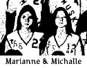 Photo of Marianne and Michalle Oveson, Muscatine High Muskie basketball players for the Sophomore team in 1975-76. Cropped from team photo, 1/23/1976 Muscatine Daily Journal.