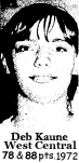 Picture of Deb Kaune, of West Central of Maynard, Iowa, who had games where she scored 78 points and 88 points in February, 1972; Iowa 6-on-6 basketball.