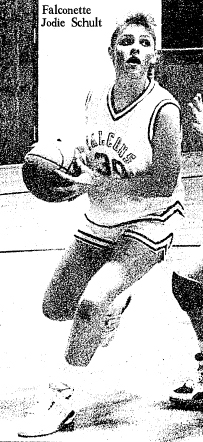 Picture of Jodie Schult, Fredericksburg High School Falconette basketaball player, photo by Andrew D. Brosig, The Register, Oelwein, Iowa, Feb. 3, 1990.