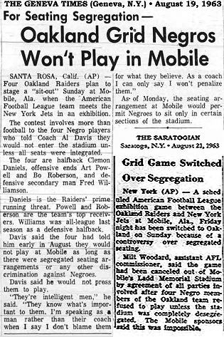 Newspaper article from The Geneva Times, Geneva, N.Y. from August 19, 1963 & article from August 23, 1963 from The Saratogian, Saratoga, N.Y. The first titled, For Seating Segregation- Oakland Grid Negros Won't Play In Mobile & Grid Game Switched Over Segregation.