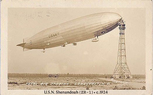 Image of old postcard of the United States Navy airship ZR-1, the Shenandoah, moored to the mooring mast at Naval Air Station Lakehurst, Lakehurst, New Jersey, circa 1923 or 1924.