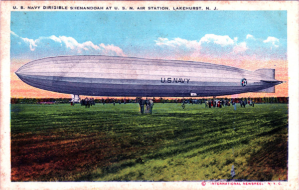 side view of ZR-1, The Shenandoah dirigible, color postcard.