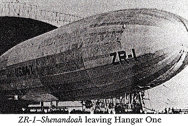 Omage of U.S. Navy airship Shenandoah (ZR-1) leaving Hanger One, circa 1923.