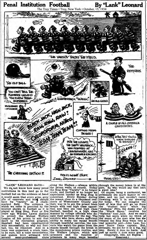 Cartoon and article from The Troy Times, Troy, N.Y., October 15, 1934, titled Penal Institution Football, by 'Lank' Leonard, about the Sing Sing Black Sheep football team.