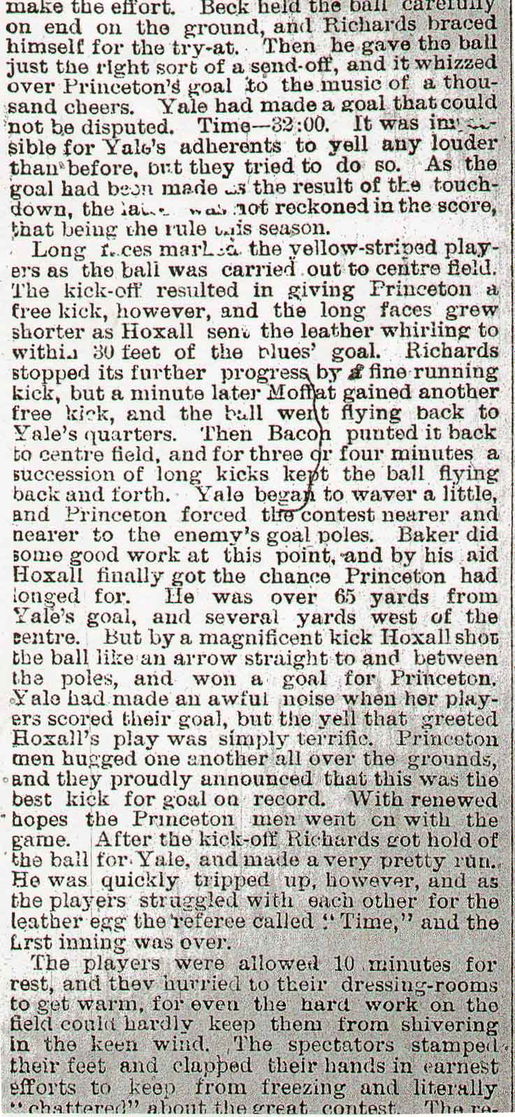 New York Times article on John Haxall's 65-yard field goal on December 1, 1882 for Princeton against YAle at the Polo Grounds.