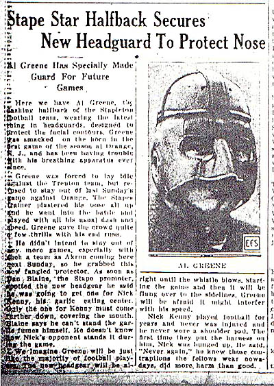 Article from 10/13/1926 Staten Island Advance about Al Greene's new football headgear, as well as well as center Nick Kenny's garlic breath.