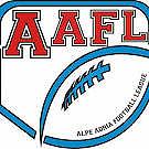 Alpe Adria Football League logo with a red AAFL and a blue stylized football.