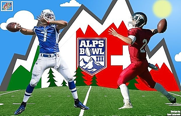 Logo for the Alps Bowl III. Alps Bowl shield, ALPS BOWL with a football for the O, the alps pictured behind it and two opposing QBs facing eacxh other.