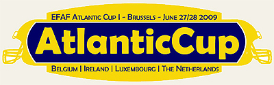 Atlantic Cup sticker: EFAF Atlantic Cup I-Brussels-June 27/28 2009/Belgium/Ireland/Luxembourg/The Netherlands