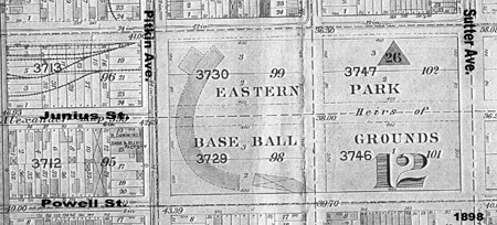 Portion from 1898 city survey map, showing Eastern Park in East New York, Brooklyn.