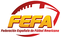 Logo for the Federacion Espanola de Futbol Americano. FEFA and the full title in stylized letters inside a represantational football design, yellow and green.