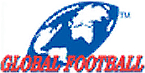 The Global Football logo: SLanted serifed capital letters slanted reading GLOBAL FOOTBALL, in red at bottom. Behind this a slanted football with a mercator projection of the globe, white for the continents on blue; with white stitching of the football at top representing the Arctic.
