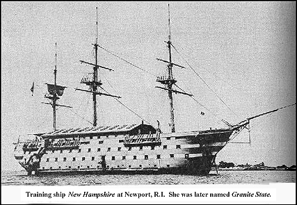 """Training ship New Hampshire at Newport, R.I.  She was later named Granite State."" Image of receiving ship showing 3 decks, painted light color,"