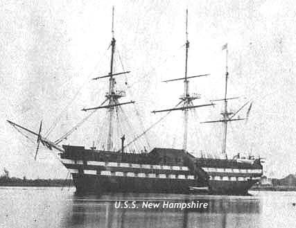 Undate image of the U.S.S. New Hampshire as a receiving ship, location unknown. Two decks visible, painted dark.