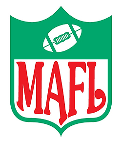 Logo for the MAFL, the Magyar American Football League, green on white MAFL in a shield with a football pictured at the top.