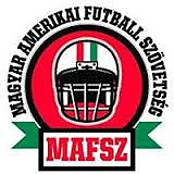 Magyar Amerikai Futball Szovetses in a semi-cirscle above, MAFSZ in rablet below, and front facing football helmet in the middle