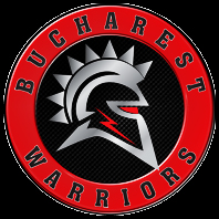 Logo for Romanian American Football team named the Bucharest Warriors, a combination knight-football player image using a helmet side view.