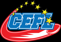 Logo for the Central European Football League with a blue CEFL, a red football and 8 yellow stars.