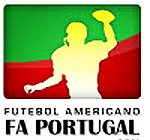 Logo for Futebol Americano FA PORTUGAL, green and red on white with image of football player about to pass the ball.