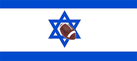 Flag of Israel with a football crashing through the Star of David in the center.