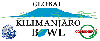 Logo for the Global Kilimanjaro Bowl, with a blue diagram of the mountain, and the logo for the Drake Bulldogs, a bulldog and a D, and also the logo for CONADEIP..