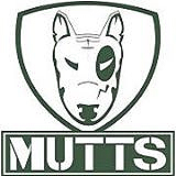 Logo for the Portuguese pro football team, the Porto Mutts, a sketch of a portrait of a white dog's face with a black oval on its left eye, with 'MUTTS' below.