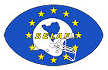 Southeastern European League of American Football logo with a yellow SELAF on a white helmet with a blue map of Serbia and Slovenia with 12 yellow stars circling around this, all within a blue football.