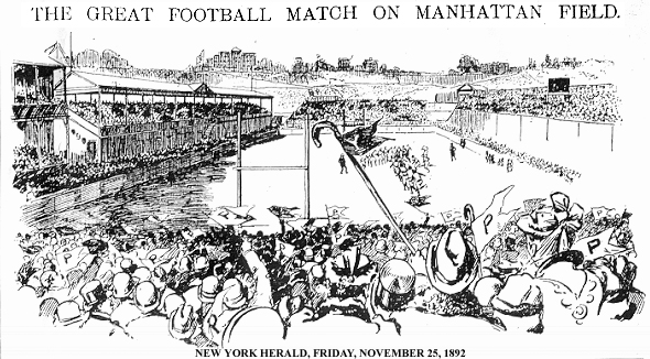 """THE GREAT FOOTBALL MATCH ON MANHATTAN FIELD"", engraving of game being played, seen from crowd, looking towards Coogan's Bluff, at Manhattan Field, November 24, 1892, from New Tork Herald, November 25, 1892."