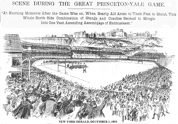 """SCENE DURING THE GREAT PRINCETON-YALE GAME • At Exciting Moments After the Game Was on. When Nearly All Arose to Their Feet to Shout, This Whole North Side Combination of Stands and Coaches Seemed to Mingle Into One Vast Ascending Assemblage of Enthusiasm."" Engraving from New York Herald, Friday, December 1, 1893."