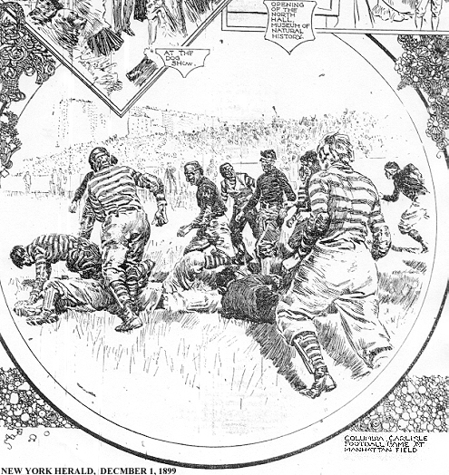 Decmber 1, 1899 New York Herald Ilustration of Columbia v. Carlisle football game at Manhattan Field; portion of full page on events around New York on Thanksgivings Day.