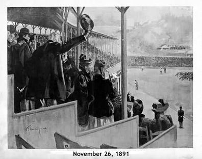Illustration of football fans in the grandstands at Manhattan Field, November 26, 1891, looking north towards the Polo Grounds to the north.
