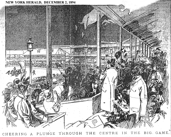 "Illustration from New york Herald, December 2, 1894, ""CHEERING A PLUNGE THROUGH CENTRE IN THE BIG GAME"" of Princeton-Yale football game as seen from stands, Thanksgivings Day, 1894."