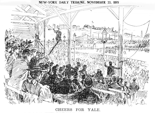 "Illustration from the New-York Daily Tribune, November 23, 1895, titled ""CHEERS FOR YALE""   showing the annual Yale-Princeton game from the stands."