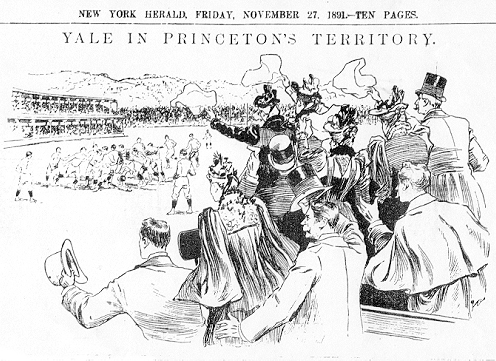 """YALE IN PRINCETON TERRITORY"" from New York Herald, November 27, 1891; illustration of Yale-Princeton Thanksgivings Day football game at Manhattan Field, as seen from stands."