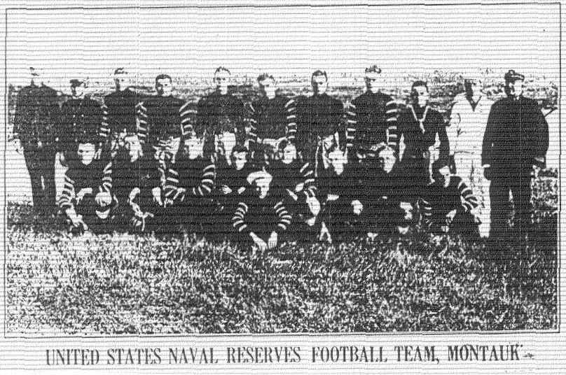 Picture of UNITED STATES NAVAL RESERVES FOOTBALL TEAM, MONTAUK from The East Hampton Star, October 19, 1917.