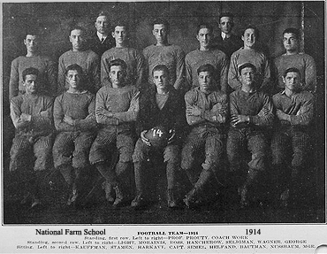 Team photo of National Farm School's football team (NFS) from 1914. From The Gleaner, Volume III, No. 14, December 1914. Naational Farm School eventually became Delaware Valley College in the 1960s.