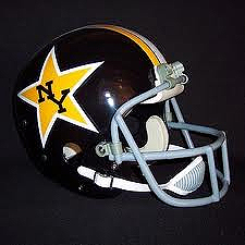 Football Helmet with New York Stars (WFL) logo of NY in black inside a yellow, or gold star, on black helmet.