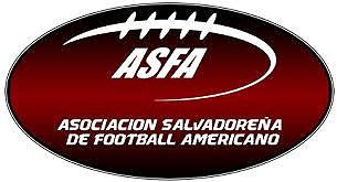 Logo for Asociation Salvadorena de Football Aamericano, ASFA; stylized stitching and ASFA and name, on large brown football shape.