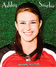 Portrait of Ashley Sbyder, female football kicker, in red Boston Militia sweatshirt