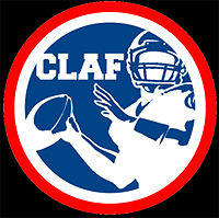 Croatian League of AMerican Football Logo: CLAF and image of quarterback throwing football to us, inside circle.