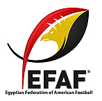 Logo for the Egyptian Federation of American Football, a stylized diagonal football in red, gold and black with an eagle in yellow pictured inside, and a tail, under which is 'EFAF' in black.