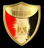 Logo for the Egyptian League of American Football. Against a black background a gold shield. Above on gold background is seen football stitching. Below has black on right, red on left and an Egyprian eagle in the center.