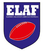 Eastern League of American Football logo. 'ELAF/Eastern League of American Football, and a tilted red football inside a blue shield..